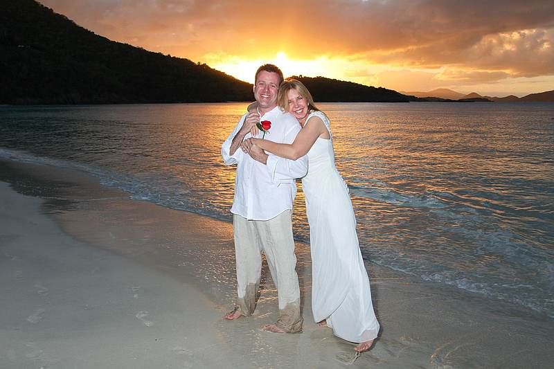 Sunset beach wedding.