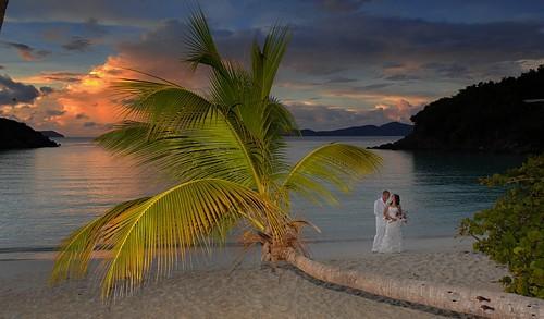 Sunset Wedding on a St John Beach