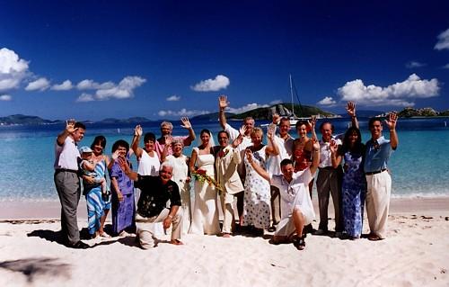 Peter Island group at a Beach Wedding